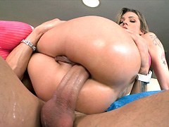 Her tight ass gets completely filled with dicks and toys